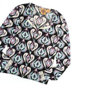Tory Burch Purple Patterned Wool Cardigan